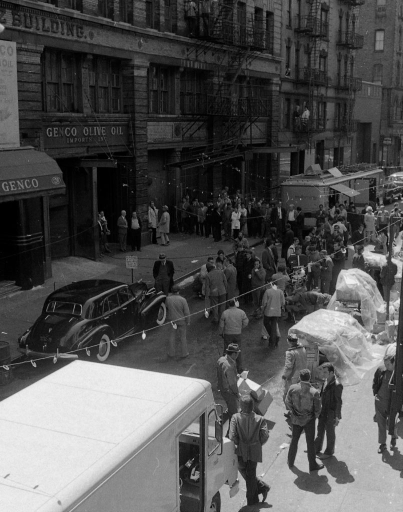 Making of movie The Godfather on Mott Street in Manhattan. Actor Marlon Brando plays Don Corleone in the movie and is gunned down outside Genco Olive Oil. (Photo By: Anthony Pescatore/NY Daily News via Getty Images)