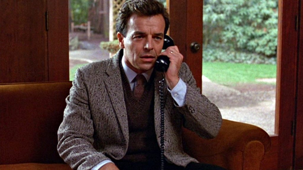 American actor Ray Wise (as Leland Palmer) speaks on a telephone in a scene from the pilot episode of the television series 'Twin Peaks,' originally broadcast on April 8, 1990. (Photo by CBS Photo Archive/Getty Images)